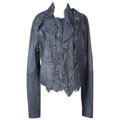 Givenchy Leather Moto Jacket with Tulle, Jewels, and Ruffles