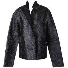 Lanvin Metallic Brocade Jacket with Exposed Stitching