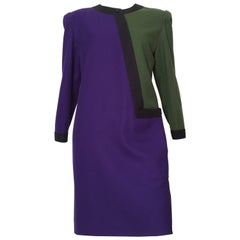 Nina Ricci 1970s Modern Abstract Wool Dress Size 10.
