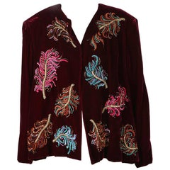 Christian Dior Burgundy Velvet Jacket with Embroidery Appliques circa 1990s