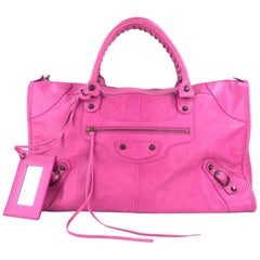Balenciaga Bubblegum Pink Large  Leather City Bag