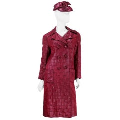 Possibly Dior 60s Mod Coat and Cap in Wine Red