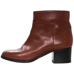Chanel Brown Leather Ankle Boots Sz 37