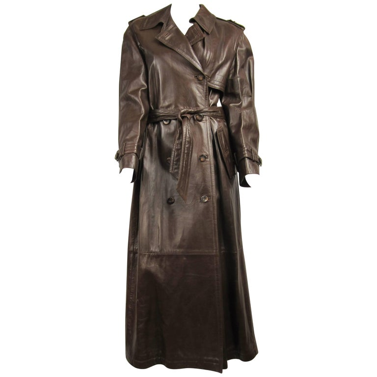 Escada Brown Leather Trench Over Coat New With Tags Size 36