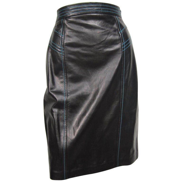 Escada Black High waisted Leather Pencil Skirt Blue Detailing New, Never Worn