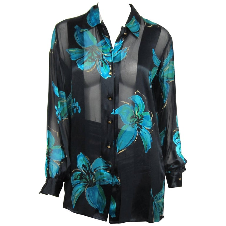 1990s Escada Silk Black Blue Floral Button Down Blouse New, Never Worn