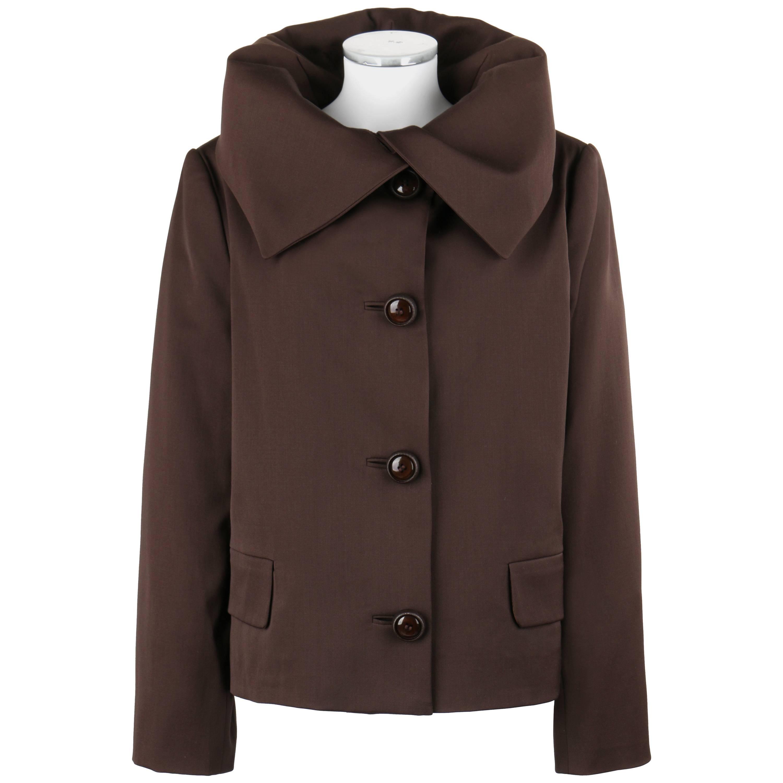 ALIK SINGER c.1980's Brown Wool Silk Oversized Collar Jacket