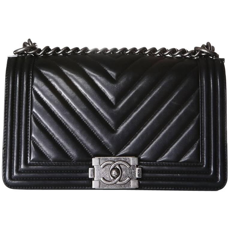 26c30f15cc60d Chanel Boy Bag with Quilted Chevron Flap