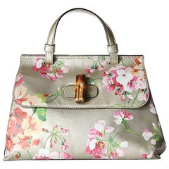 Tom Ford for Gucci Floral Printed Leather Bag with Bamboo Toggle, 1990s