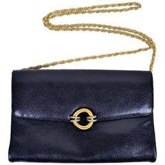 Rodo Italy Vintage Reptile Embossed Black Leather Handbag w/ Rhinestone Clasp