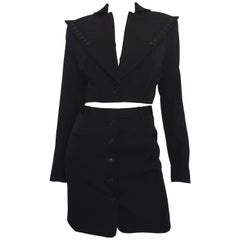1980s OMO by Norma Kamali Black Wool Mini Skirt Suit with Button Detail