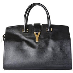 YSL Cabas Leather Tote with Gold Y Hardware