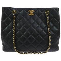 Chanel Black Caviar Leather Gold Hardware Evening Shopper Shoulder Tote Bag