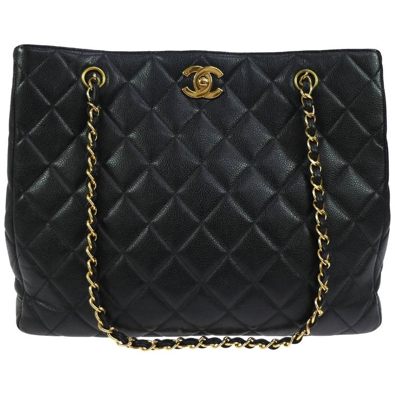 Chanel Black Caviar Leather Gold Hardware Evening Shopper Shoulder Tote Bag
