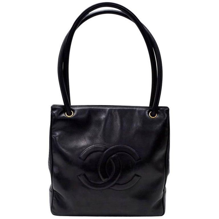 """Vintage Chanel 12"""" Black Leather Large Shoulder Tote Bag"""