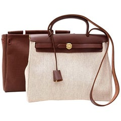 Hermes Herbag PM 2 in 1 Canvas Brown Leather Shoulder Bag