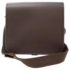 Louis Vuitton Andrei Chocolate Brown Taiga Leather Messenger Bag