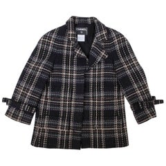 CHANEL Checked Jacket in Black Wool Tweed and Multicolored Checks Size 38EU