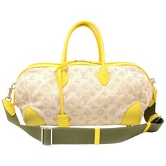 Louis Vuitton Denim Speedy Round PM Yellow Leather 2Way Bag + Strap