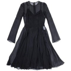 DOLCE & GABBANA Cocktail Dress in Black Chiffon Size 40IT
