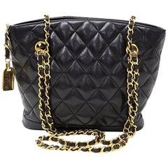 """Vintage Chanel 8"""" Black Quilted Leather Small Shoulder Bag"""