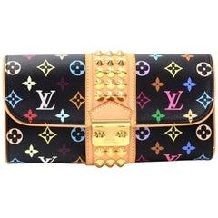 Louis Vuitton Pochette Courtney Black Multicolor Monogram Canvas Clutch Bag