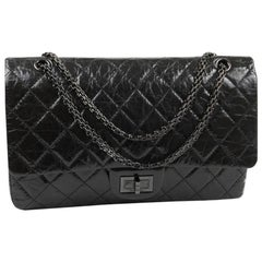 CHANEL 2.55 Double Flap Bag in Shiny Black 'So Black' Leather