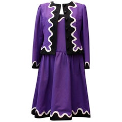 Yves Saint Laurent Rive Gauche dress and jacket set in purple, black and white