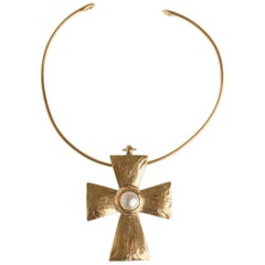 1980s YSL YVES SAINT LAURENT Large Cross Pendant Chocker Necklace