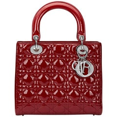 2014 Dior Deep Red Quilted Patent Leather Medium Lady Dior