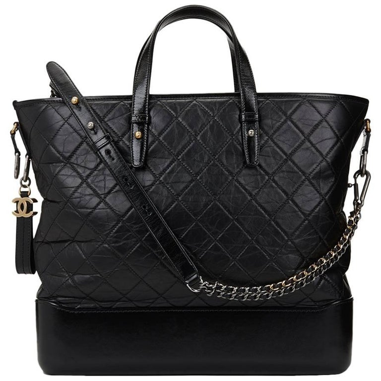 2017 Chanel Black Aged & Smooth Calfskin Leather Gabrielle Large Shopping Tote