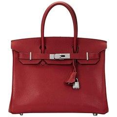 2007 Hermes Rouge Garance Vache Liégée Leather Birkin 30cm