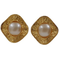 Chanel gold tone faux white pearls clip on earrings