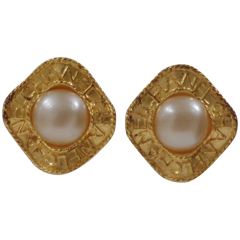 Chanel gold tone faux white pearls clip on earrings For Sale