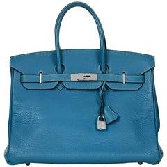 2002 Hermes Blue Jean Fjord Leather Birkin 35cm