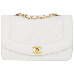 1990s Chanel White Quilted Lambskin Vintage Small Diana Classic Single Flap Bag