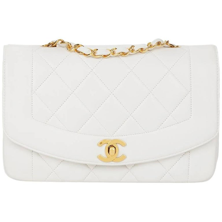 daa997c1d8a612 1990s Chanel White Quilted Lambskin Vintage Small Diana Classic Single Flap  Bag For Sale
