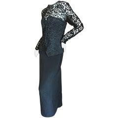 James Galanos Bergdorf Goodman 1970's Black Embellished Lace Evening Dress