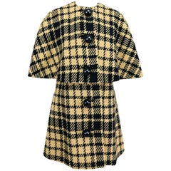 Rudi Gernreich vintage 1960s mod black and tan wool plaid mini cape tent coat