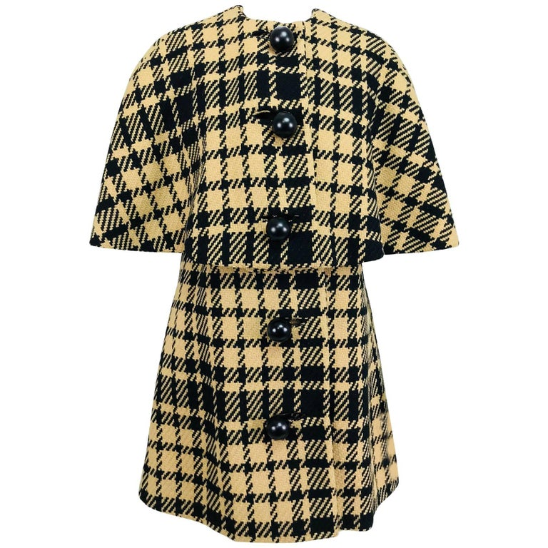 Rudi Gernreich vintage 1960s mod black and tan wool plaid mini cape tent coat 1
