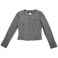 CHANEL Jacket in Gray Wool with Chevron Pattern Size 38FR