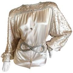 James Galanos Embellished Silk Satin Evening Jacket with Crystal Belt