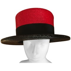 Yves Saint Laurent Rive Gauche 1970's Woven Straw Color Black Boater Hat