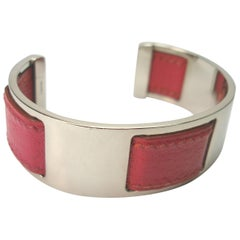 Vintage and Rare Margiela for Hermes Pink Leather and Palladium Cuff Bracelet