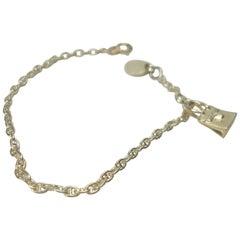 SO CUTE HERMES Vintage Birkin Charm Silver Chaine d'Ancre Bracelet Silver 925