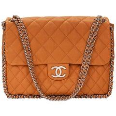 2012 Chanel Honey Beige Quilted Calfskin Chain Around Maxi Flap Bag