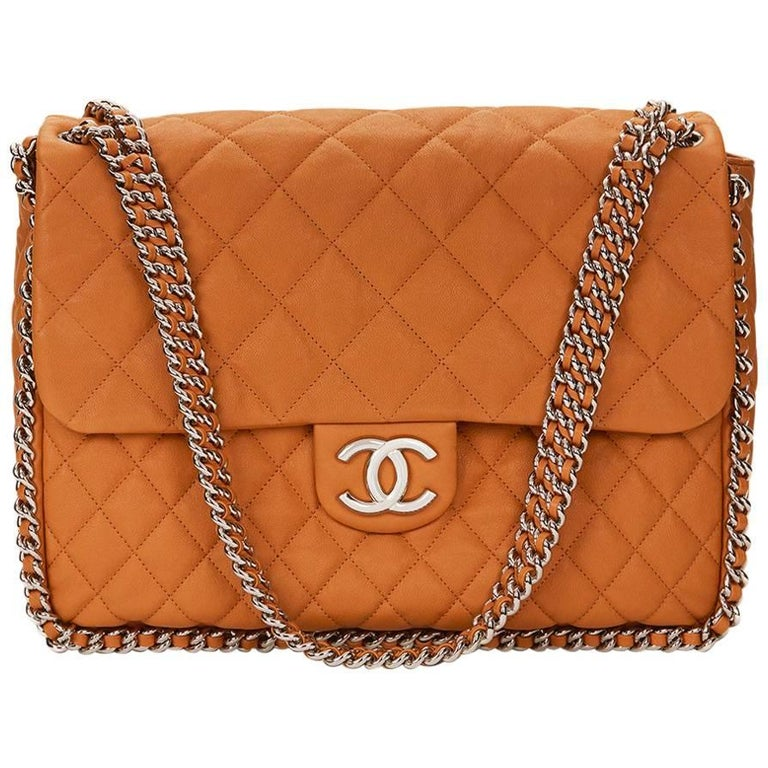 2012 Chanel Honey Beige Quilted Calfskin Chain Around Maxi Flap Bag For Sale