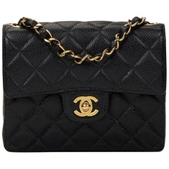 2000s Chanel Black Quilted Caviar Leather Mini Flap Bag