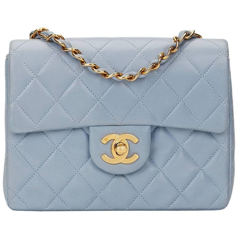 1b860299cb00 1990s Chanel Sky Blue Quilted Lambskin Vintage Mini Flap Bag at 1stdibs