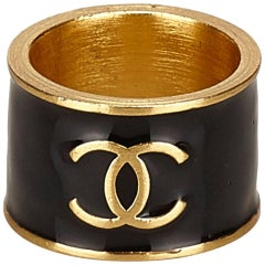 """Chanel Black and Gold Toned """"CC"""" and """"Heart"""" Ring"""
